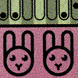 An excerpt from a promotional image for this site, showing stylized rabbit head icons and post-processing done to make it look like a scanned printout
